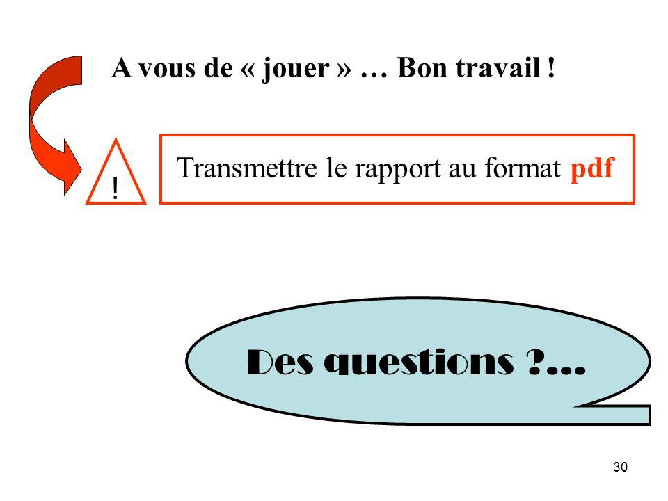 30 A vous de « jouer » … Bon travail ! Des questions ?... Transmettre le rapport au format pdf !
