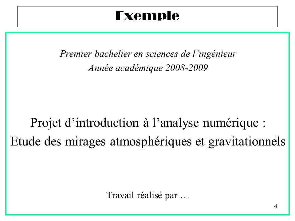 4 Premier bachelier en sciences de l'ingénieur Année académique 2008-2009 Projet d'introduction à l'analyse numérique : Etude des mirages atmosphériqu
