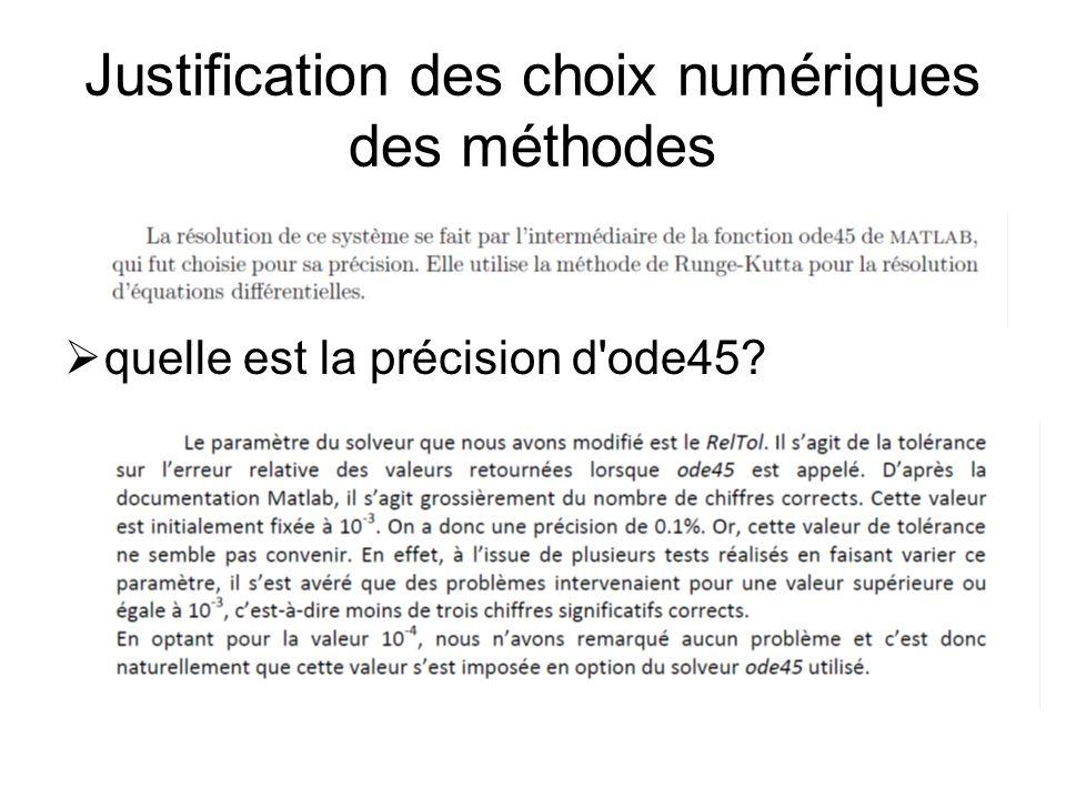 Justification des choix numériques des méthodes  quelle est la précision d'ode45?