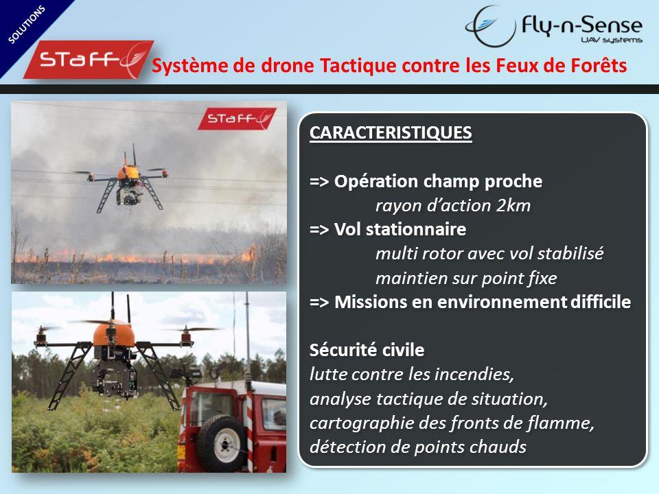 SOLUTIONS Système de drone Tactique contre les Feux de Forêts CARACTERISTIQUES => Opération champ proche rayon d'action 2km => Vol stationnaire multi