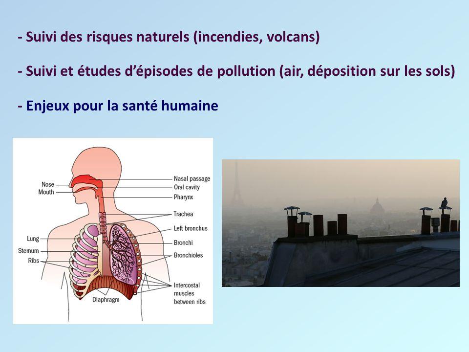 - Suivi des risques naturels (incendies, volcans) - Suivi et études d'épisodes de pollution (air, déposition sur les sols) - Enjeux pour la santé huma
