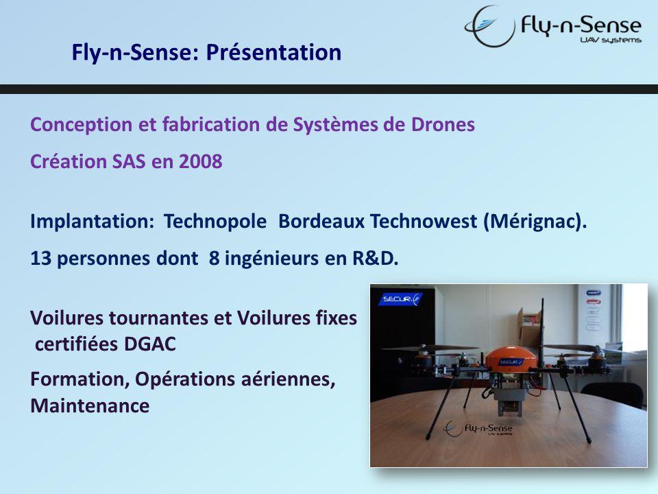 Fly-n-Sense: Présentation Conception et fabrication de Systèmes de Drones Création SAS en 2008 Implantation: Technopole Bordeaux Technowest (Mérignac)