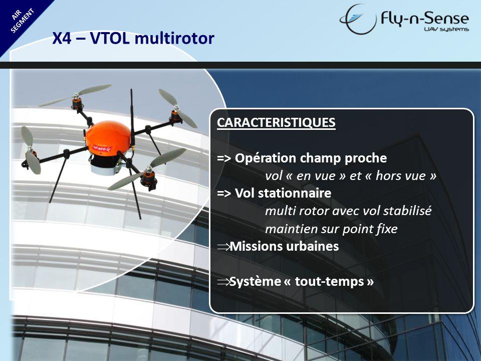 AIR SEGMENT X4 – VTOL multirotor CARACTERISTIQUES => Opération champ proche vol « en vue » et « hors vue » => Vol stationnaire multi rotor avec vol st