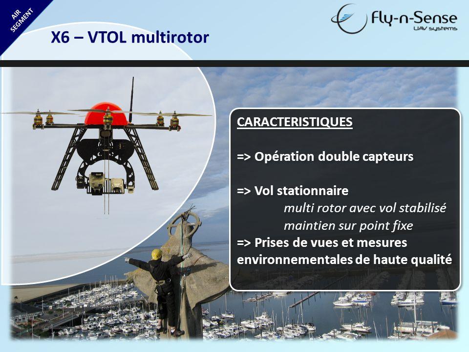 AIR SEGMENT X6 – VTOL multirotor CARACTERISTIQUES => Opération double capteurs => Vol stationnaire multi rotor avec vol stabilisé maintien sur point f