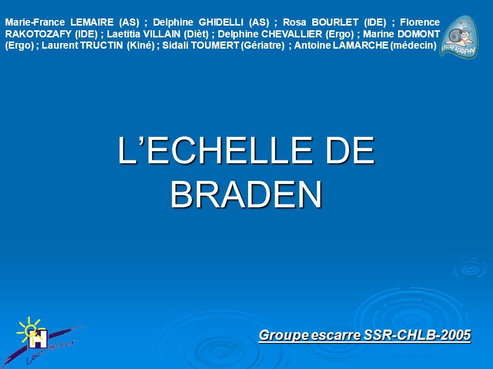 L'ECHELLE DE BRADEN Groupe escarre SSR-CHLB-2005 Groupe escarre SSR-CHLB-2005 Marie-France LEMAIRE (AS) ; Delphine GHIDELLI (AS) ; Rosa BOURLET (IDE)
