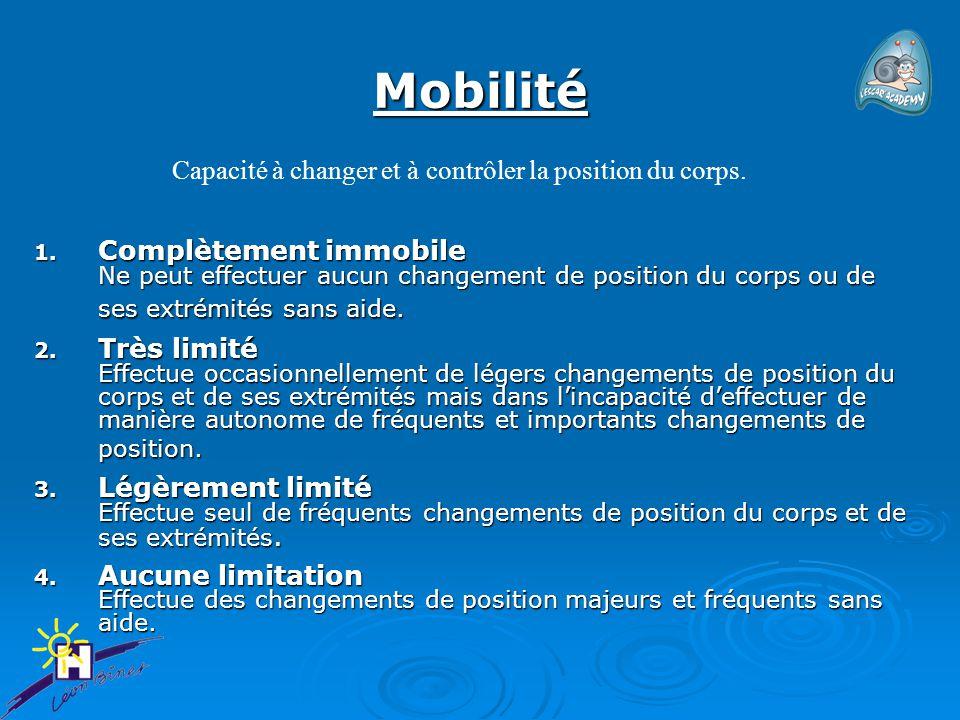 Mobilité 1. Complètement immobile Ne peut effectuer aucun changement de position du corps ou de ses extrémités sans aide. 2. Très limité Effectue occa