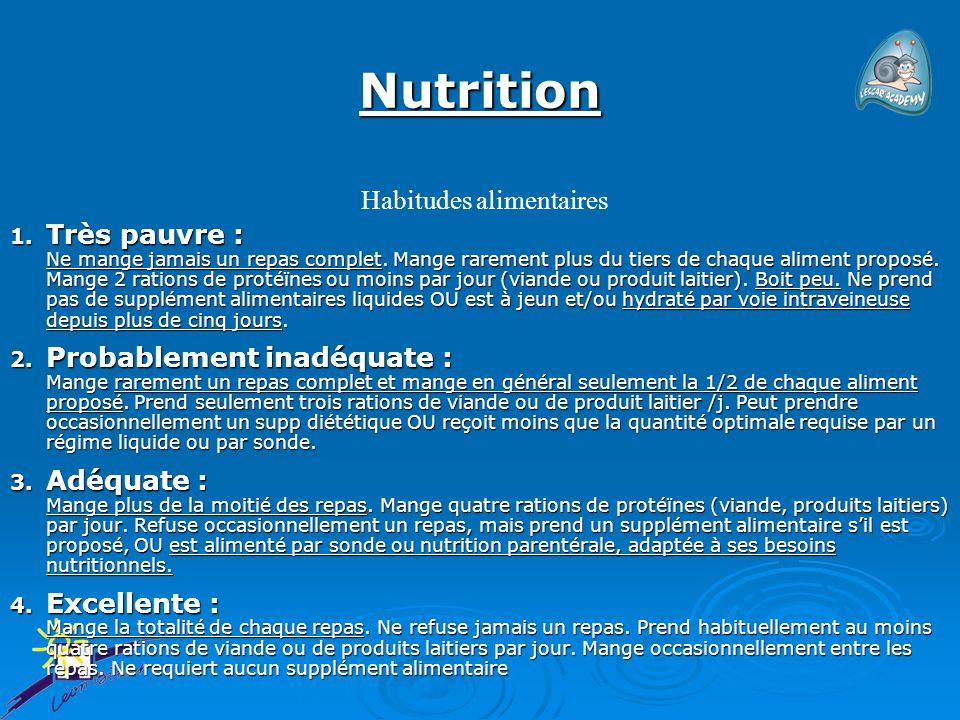 Nutrition 1. Très pauvre : Ne mange jamais un repas complet. Mange rarement plus du tiers de chaque aliment proposé. Mange 2 rations de protéïnes ou m
