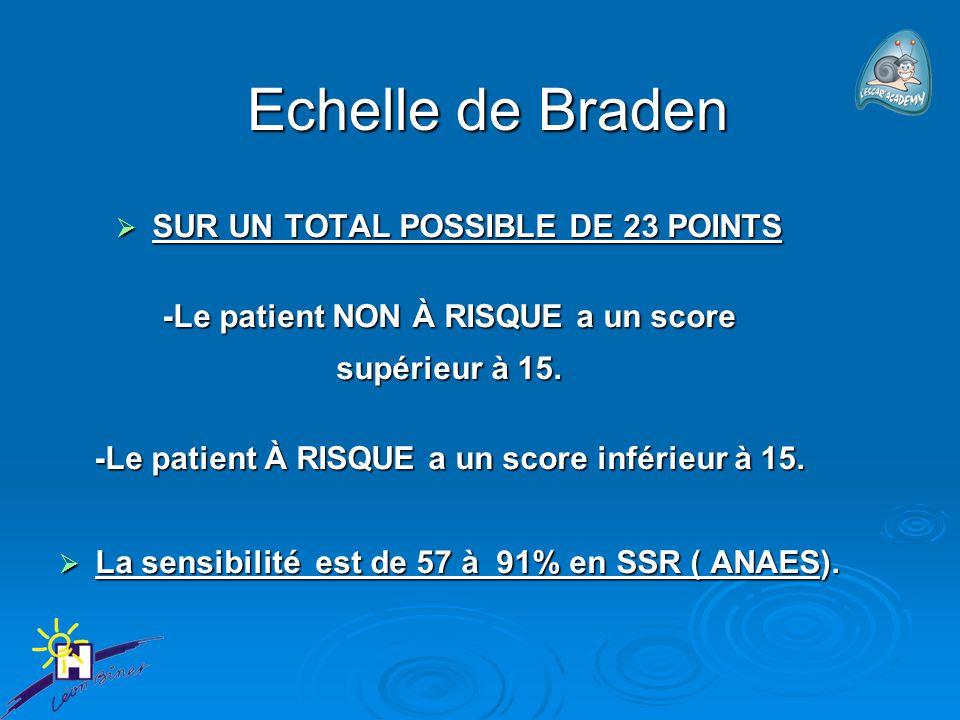 Echelle de Braden Echelle de Braden  SUR UN TOTAL POSSIBLE DE 23 POINTS -Le patient NON À RISQUE a un score supérieur à 15. -Le patient À RISQUE a un