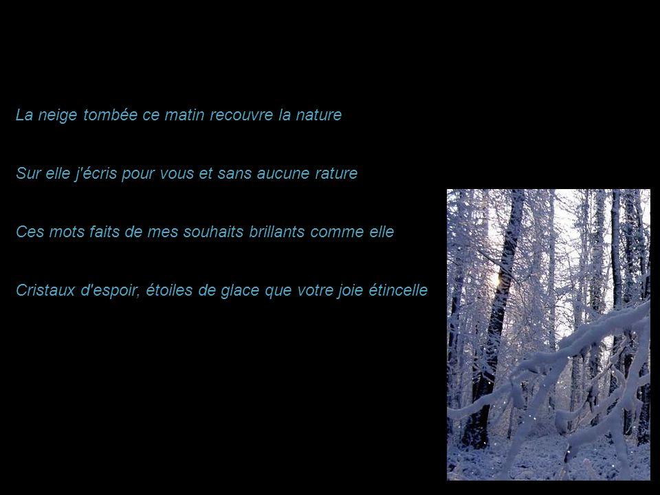 La neige tombée ce matin recouvre la nature Sur elle j écris pour vous et sans aucune rature Ces mots faits de mes souhaits brillants comme elle Cristaux d espoir, étoiles de glace que votre joie étincelle