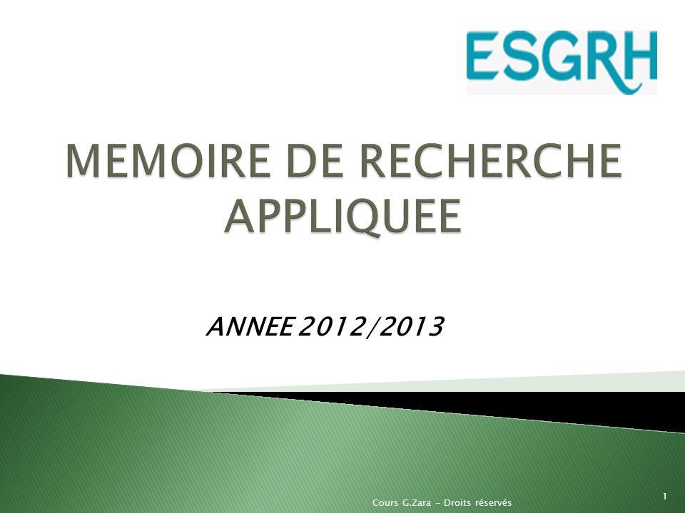 ANNEE 2012/2013 1 Cours G.Zara - Droits réservés