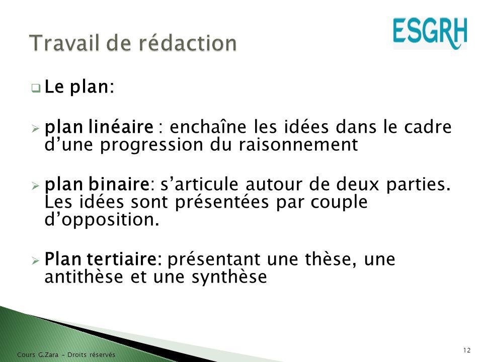  Le plan:  plan linéaire : enchaîne les idées dans le cadre d'une progression du raisonnement  plan binaire: s'articule autour de deux parties. Les