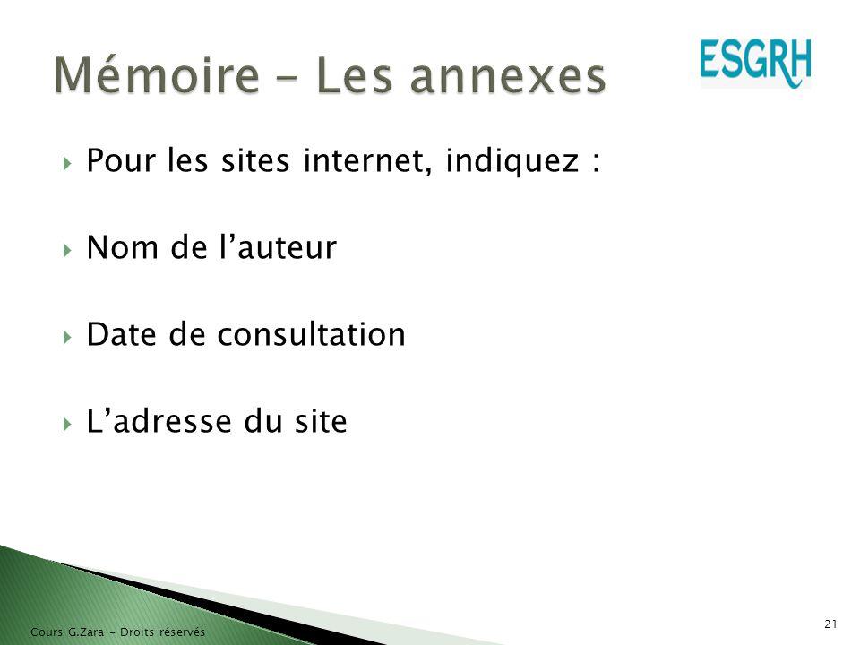  Pour les sites internet, indiquez :  Nom de l'auteur  Date de consultation  L'adresse du site 21 Cours G.Zara - Droits réservés