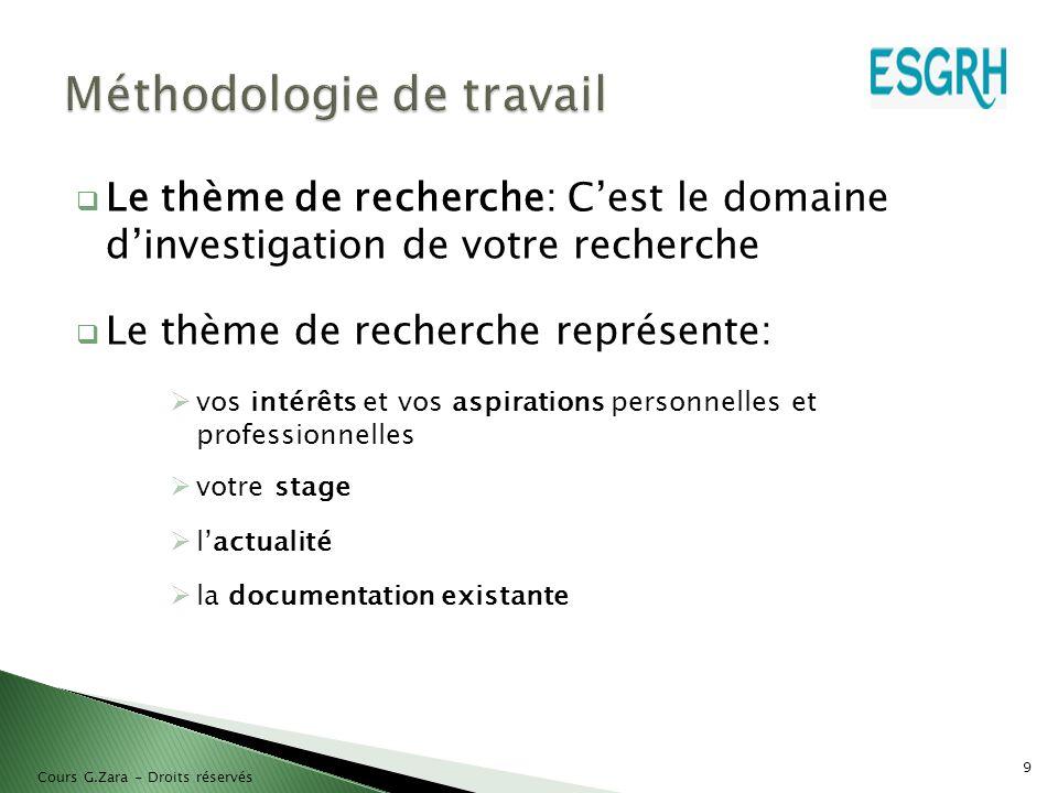  Le thème de recherche: C'est le domaine d'investigation de votre recherche  Le thème de recherche représente:  vos intérêts et vos aspirations per