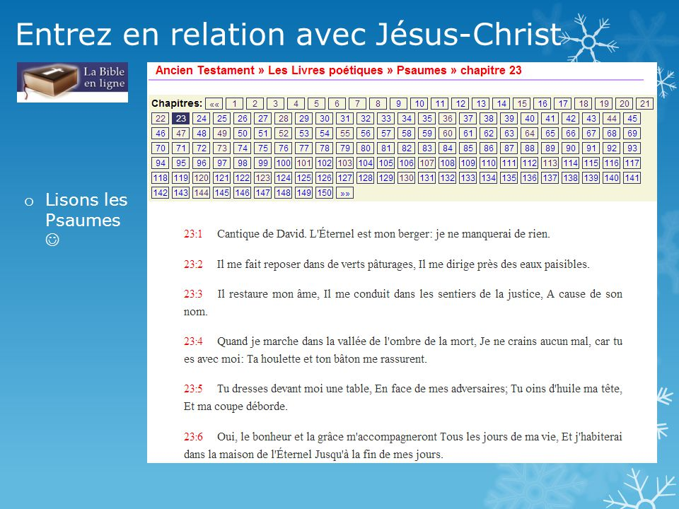 Entrez en relation avec Jésus-Christ o Lisons les Psaumes
