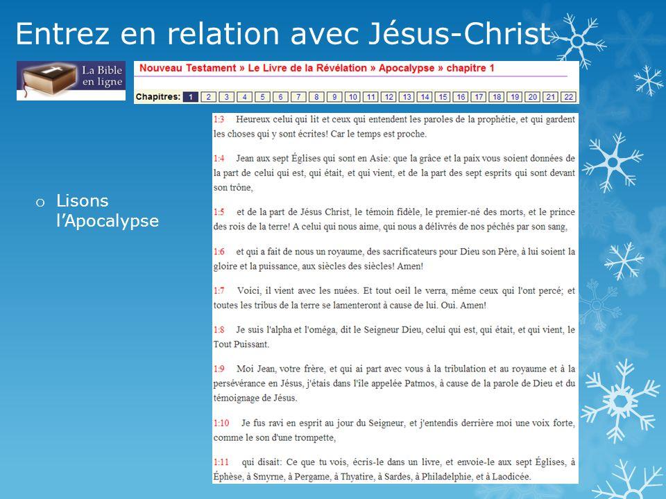 Entrez en relation avec Jésus-Christ o Lisons l'Apocalypse