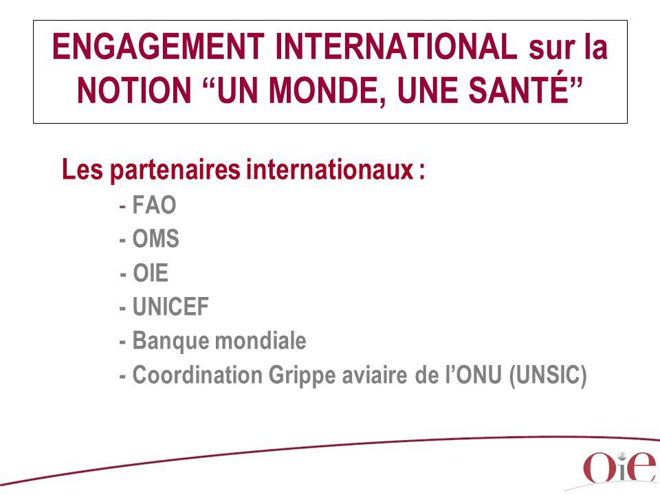 """ENGAGEMENT INTERNATIONAL sur la NOTION """"UN MONDE, UNE SANTÉ"""" Les partenaires internationaux : - FAO - OMS - OIE - UNICEF - Banque mondiale - Coordinat"""