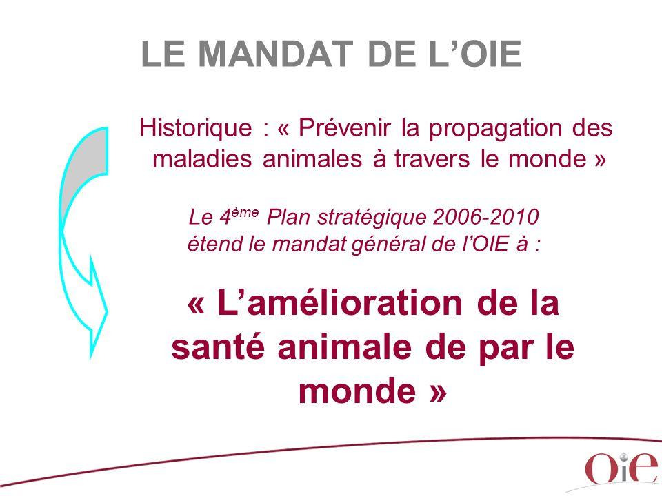 Historique : « Prévenir la propagation des maladies animales à travers le monde » Le 4 ème Plan stratégique 2006-2010 étend le mandat général de l'OIE