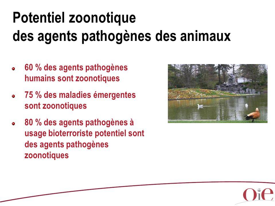 Potentiel zoonotique des agents pathogènes des animaux 60 % des agents pathogènes humains sont zoonotiques 75 % des maladies émergentes sont zoonotiqu