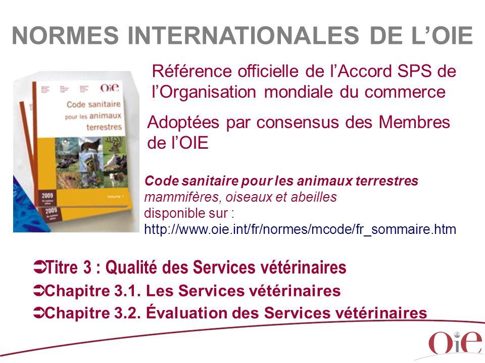 Adoptées par consensus des Membres de l'OIE  Titre 3 : Qualité des Services vétérinaires  Chapitre 3.1. Les Services vétérinaires  Chapitre 3.2. Év
