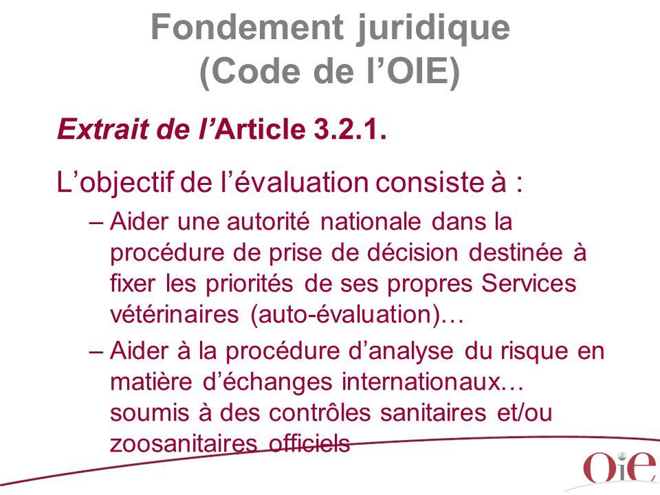 Fondement juridique (Code de l'OIE) Extrait de l'Article 3.2.1. L'objectif de l'évaluation consiste à : –Aider une autorité nationale dans la procédur
