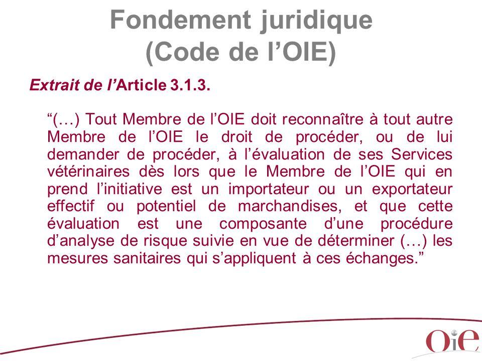"""Extrait de l'Article 3.1.3. """"(…) Tout Membre de l'OIE doit reconnaître à tout autre Membre de l'OIE le droit de procéder, ou de lui demander de procéd"""
