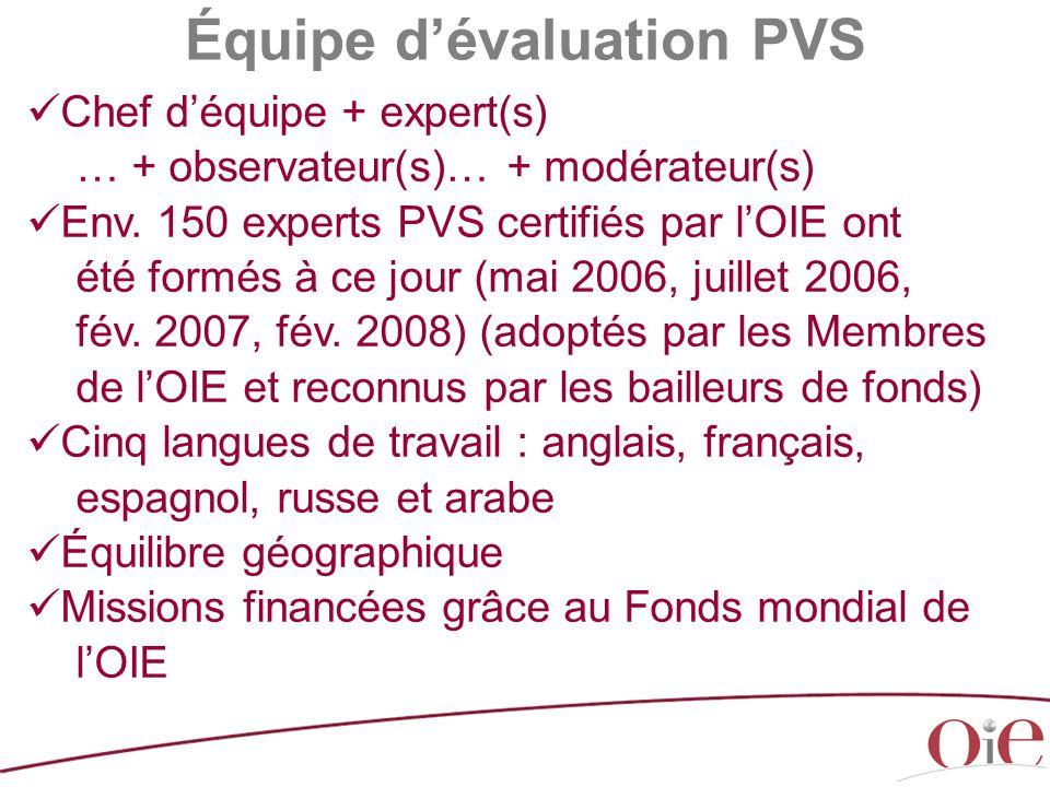 Chef d'équipe + expert(s) … + observateur(s)… + modérateur(s) Env. 150 experts PVS certifiés par l'OIE ont été formés à ce jour (mai 2006, juillet 200