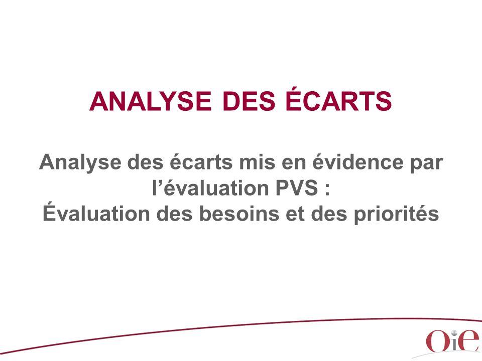 ANALYSE DES ÉCARTS Analyse des écarts mis en évidence par l'évaluation PVS : Évaluation des besoins et des priorités