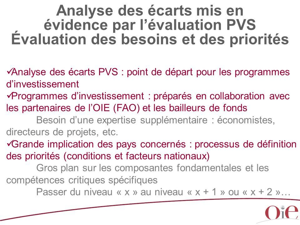 Analyse des écarts mis en évidence par l'évaluation PVS Évaluation des besoins et des priorités Analyse des écarts PVS : point de départ pour les prog