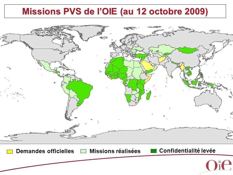 Missions PVS de l'OIE (au 12 octobre 2009) Missions réalisées Demandes officielles Confidentialité levée