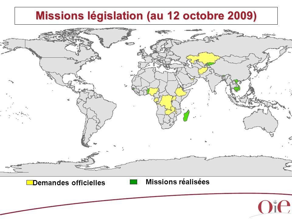 Missions législation (au 12 octobre 2009) Demandes officielles Missions réalisées