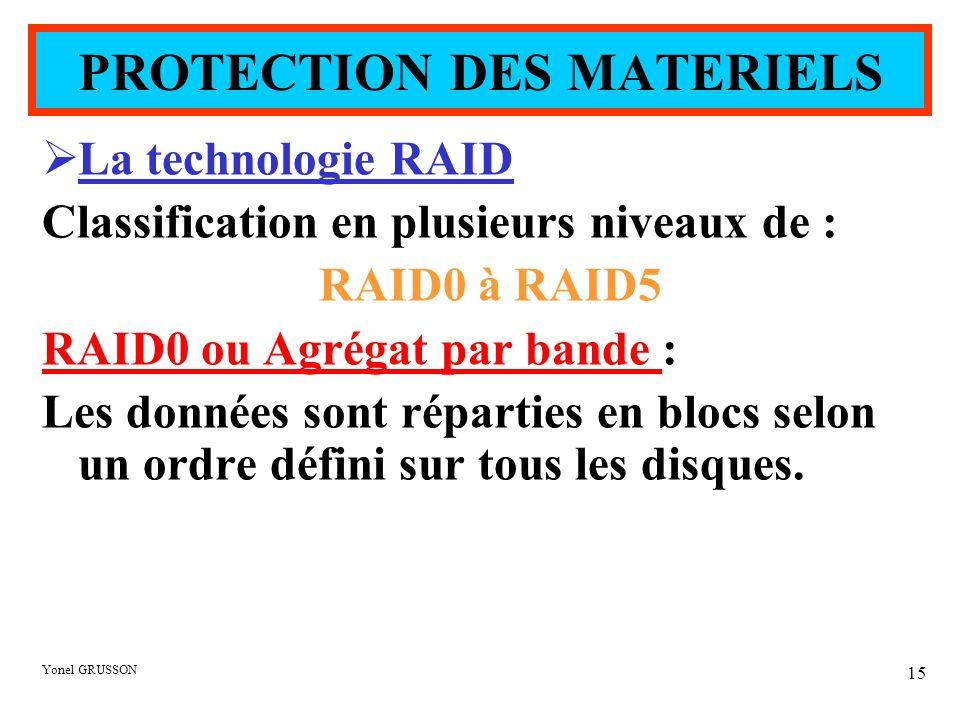 Yonel GRUSSON 15  La technologie RAID Classification en plusieurs niveaux de : RAID0 à RAID5 RAID0 ou Agrégat par bande : Les données sont réparties en blocs selon un ordre défini sur tous les disques.