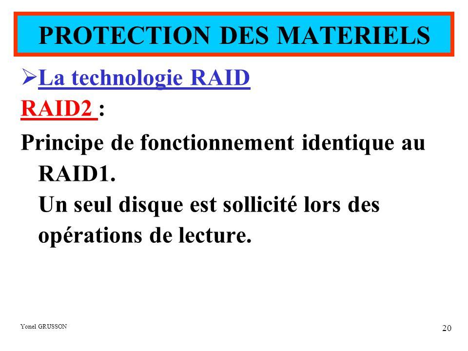 Yonel GRUSSON 20  La technologie RAID RAID2 : Principe de fonctionnement identique au RAID1. Un seul disque est sollicité lors des opérations de lect
