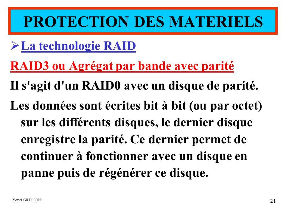 Yonel GRUSSON 21  La technologie RAID RAID3 ou Agrégat par bande avec parité Il s'agit d'un RAID0 avec un disque de parité. Les données sont écrites