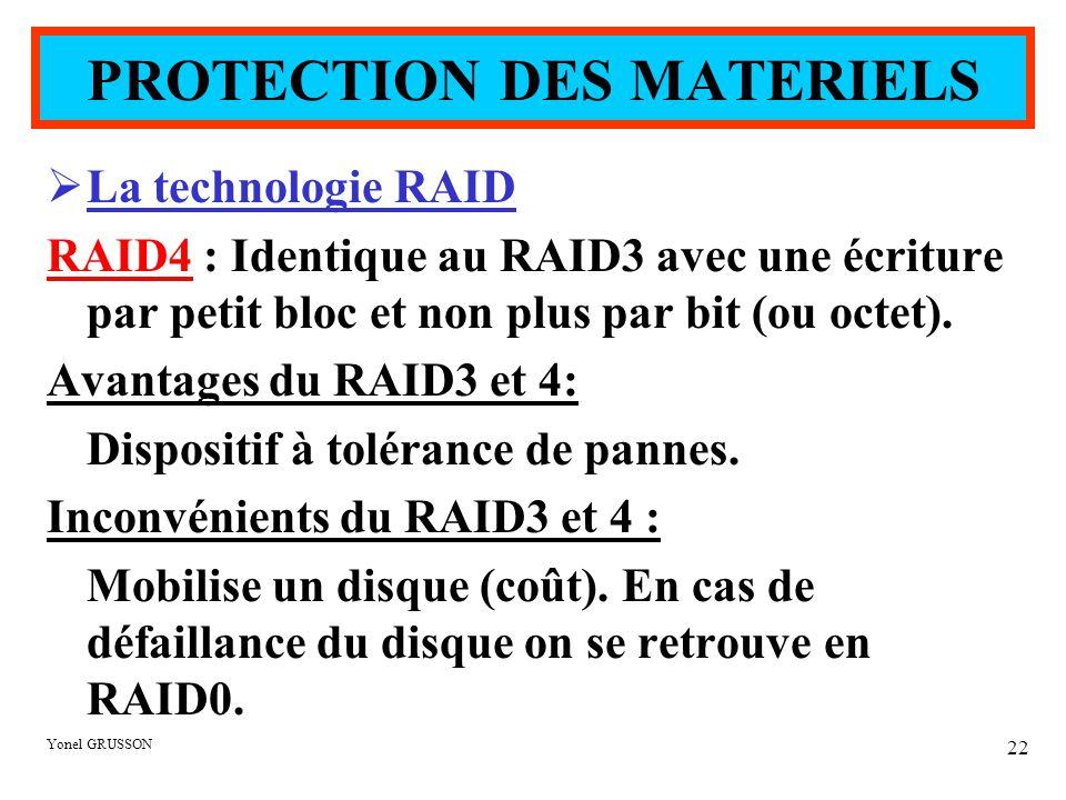 Yonel GRUSSON 22  La technologie RAID RAID4 : Identique au RAID3 avec une écriture par petit bloc et non plus par bit (ou octet). Avantages du RAID3