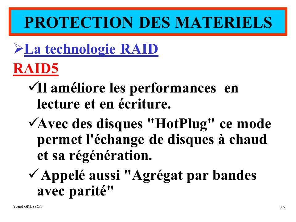 Yonel GRUSSON 25  La technologie RAID RAID5 Il améliore les performances en lecture et en écriture. Avec des disques