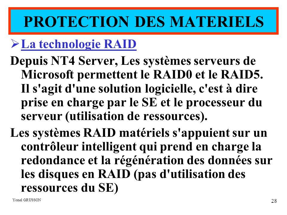 Yonel GRUSSON 28  La technologie RAID Depuis NT4 Server, Les systèmes serveurs de Microsoft permettent le RAID0 et le RAID5. Il s'agit d'une solution