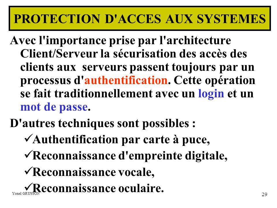 Yonel GRUSSON 29 PROTECTION D ACCES AUX SYSTEMES Avec l importance prise par l architecture Client/Serveur la sécurisation des accès des clients aux serveurs passent toujours par un processus d authentification.