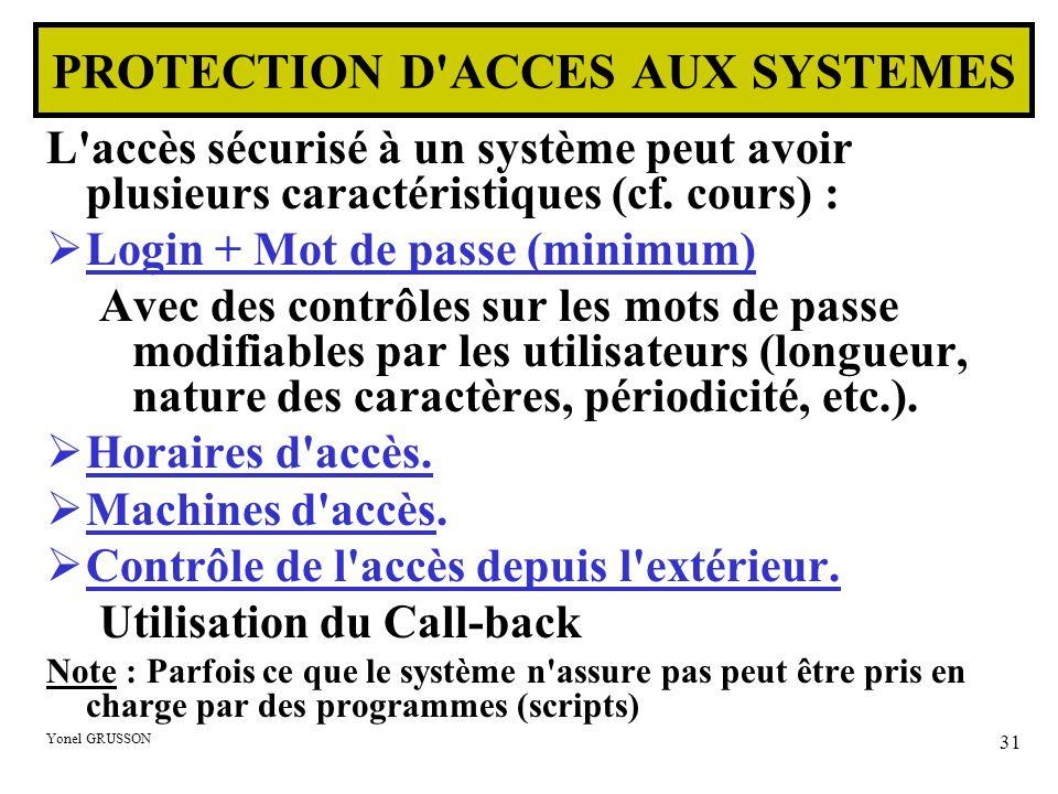 Yonel GRUSSON 31 L'accès sécurisé à un système peut avoir plusieurs caractéristiques (cf. cours) :  Login + Mot de passe (minimum) Avec des contrôles