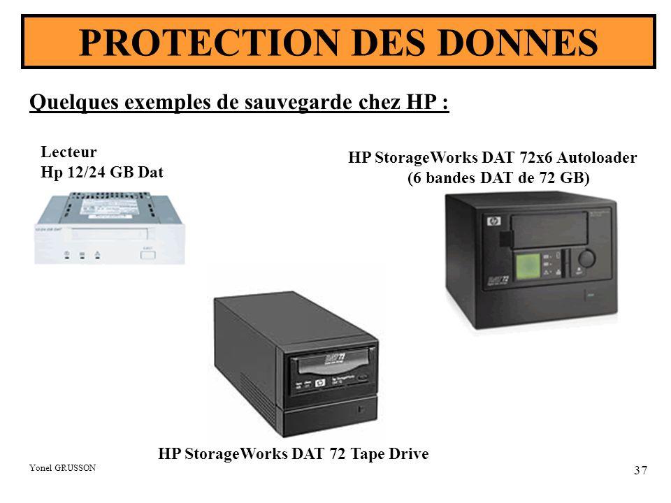 Yonel GRUSSON 37 PROTECTION DES DONNES Lecteur Hp 12/24 GB Dat HP StorageWorks DAT 72 Tape Drive Quelques exemples de sauvegarde chez HP : HP StorageWorks DAT 72x6 Autoloader (6 bandes DAT de 72 GB)