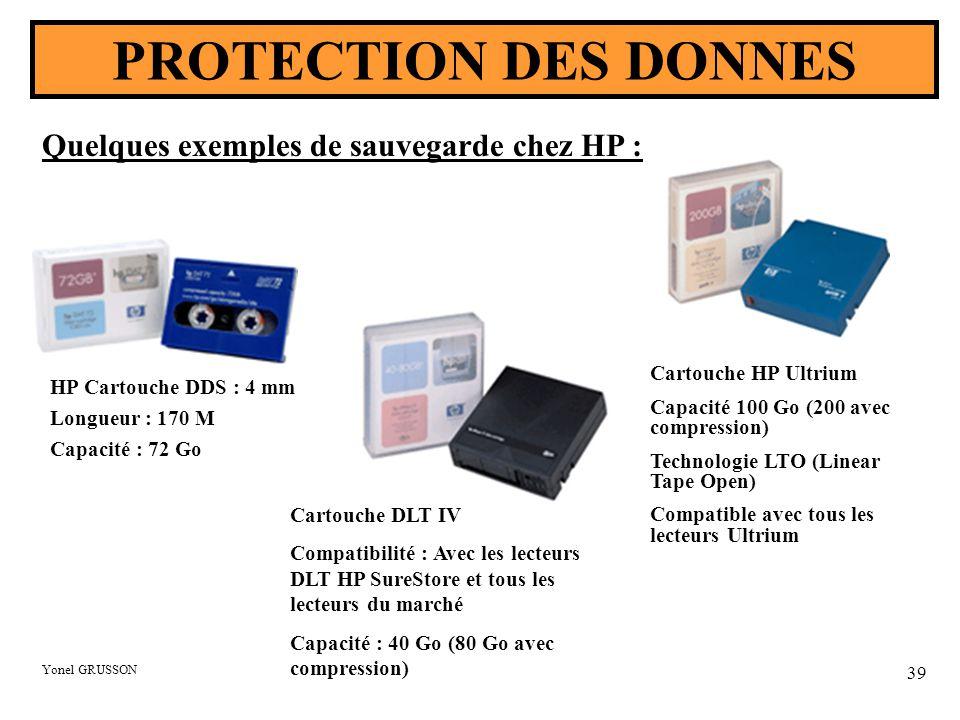 Yonel GRUSSON 39 PROTECTION DES DONNES Quelques exemples de sauvegarde chez HP : HP Cartouche DDS : 4 mm Longueur : 170 M Capacité : 72 Go Cartouche HP Ultrium Capacité 100 Go (200 avec compression) Technologie LTO (Linear Tape Open) Compatible avec tous les lecteurs Ultrium Cartouche DLT IV Compatibilité : Avec les lecteurs DLT HP SureStore et tous les lecteurs du marché Capacité : 40 Go (80 Go avec compression)