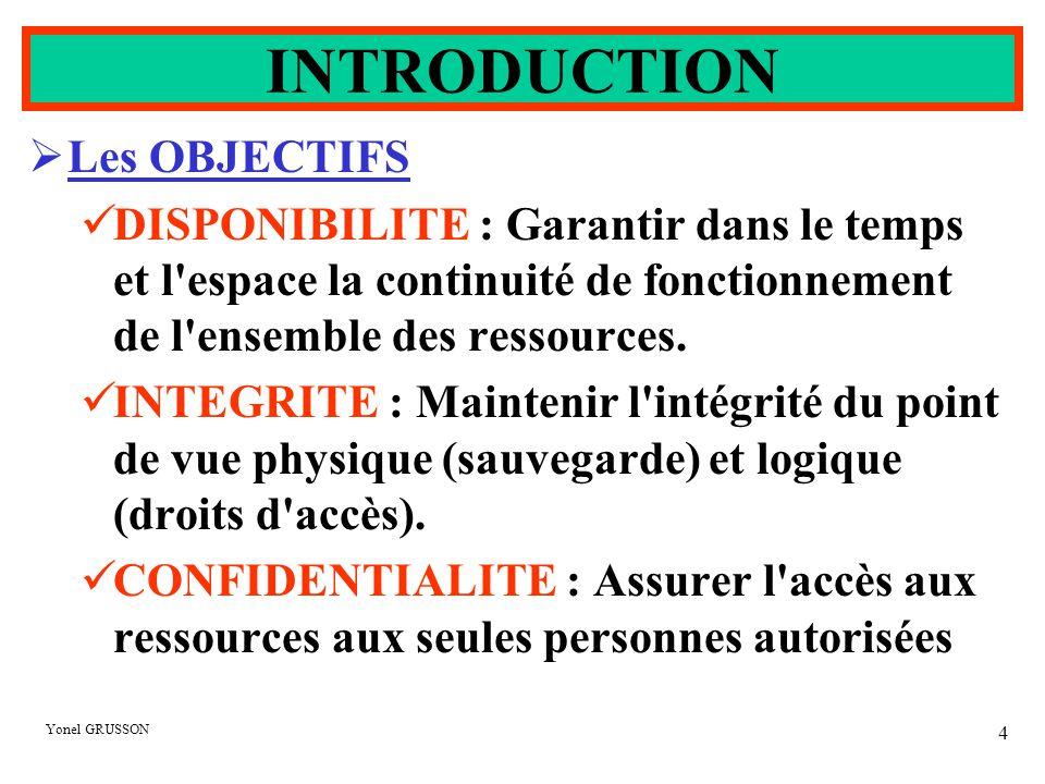Yonel GRUSSON 4  Les OBJECTIFS DISPONIBILITE : Garantir dans le temps et l'espace la continuité de fonctionnement de l'ensemble des ressources. INTEG