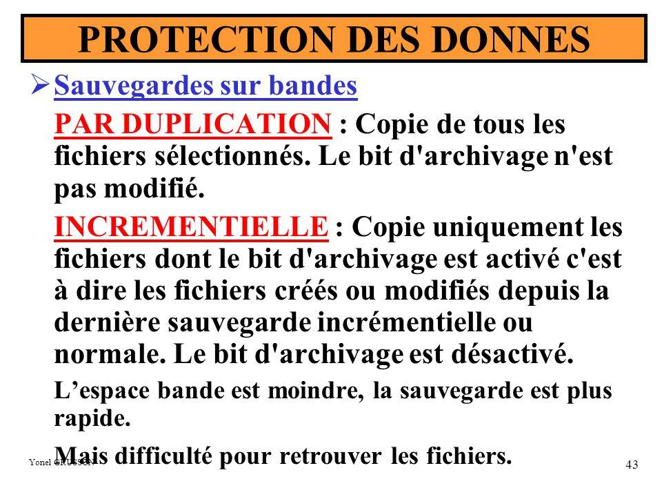 Yonel GRUSSON 43 PROTECTION DES DONNES  Sauvegardes sur bandes PAR DUPLICATION : Copie de tous les fichiers sélectionnés. Le bit d'archivage n'est pa