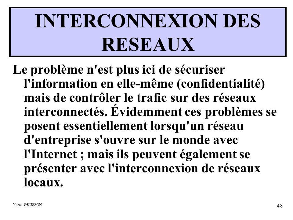 Yonel GRUSSON 48 INTERCONNEXION DES RESEAUX Le problème n est plus ici de sécuriser l information en elle-même (confidentialité) mais de contrôler le trafic sur des réseaux interconnectés.