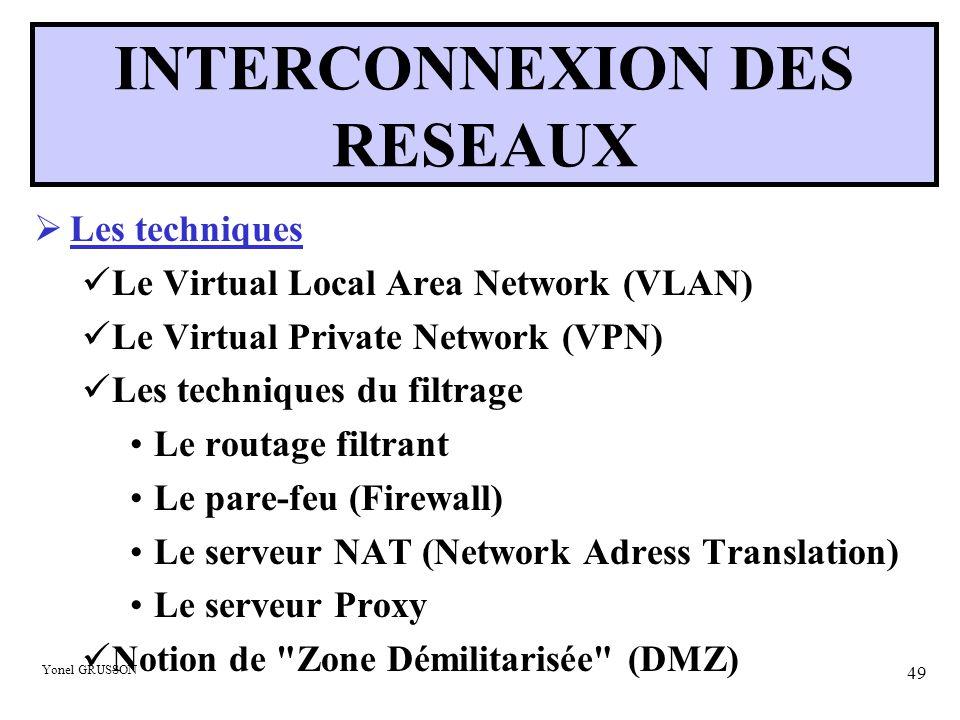 Yonel GRUSSON 49 INTERCONNEXION DES RESEAUX  Les techniques Le Virtual Local Area Network (VLAN) Le Virtual Private Network (VPN) Les techniques du f
