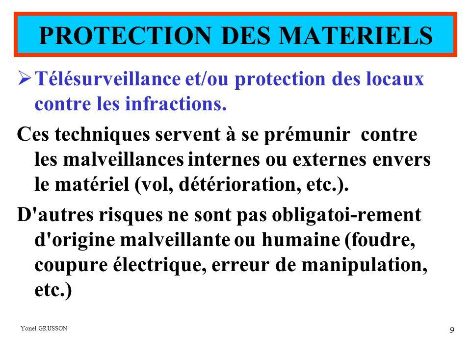 Yonel GRUSSON 9  Télésurveillance et/ou protection des locaux contre les infractions. Ces techniques servent à se prémunir contre les malveillances i