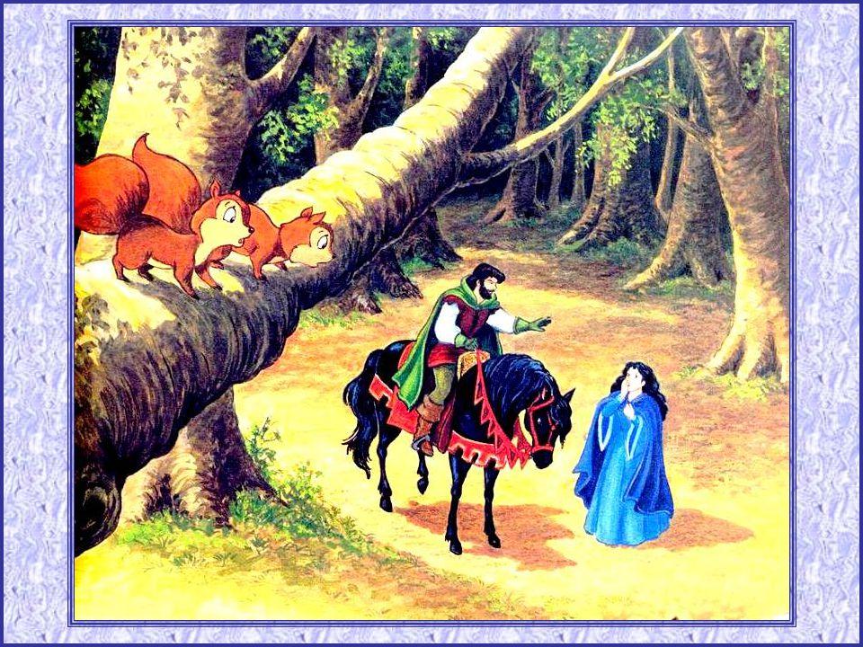 Il partit donc, emmenant Blan- che-Neige en croupe. Pourtant, il ne peut se résoudre à la tuer. Il lui demanda de sa cacher au fond des bois. Quant à