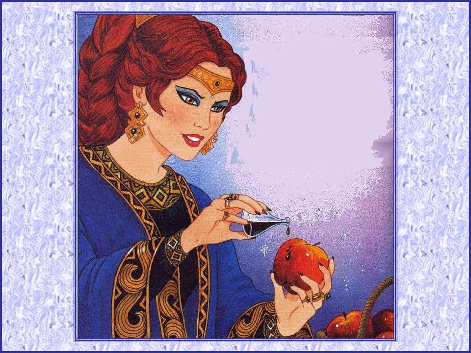 Hélas ! Cela ne pouvait durer… La reine, interrogeant son miroir, apprit que Blanche-Neige était toujours vi- vante, et où elle se cachait. Heureu- se