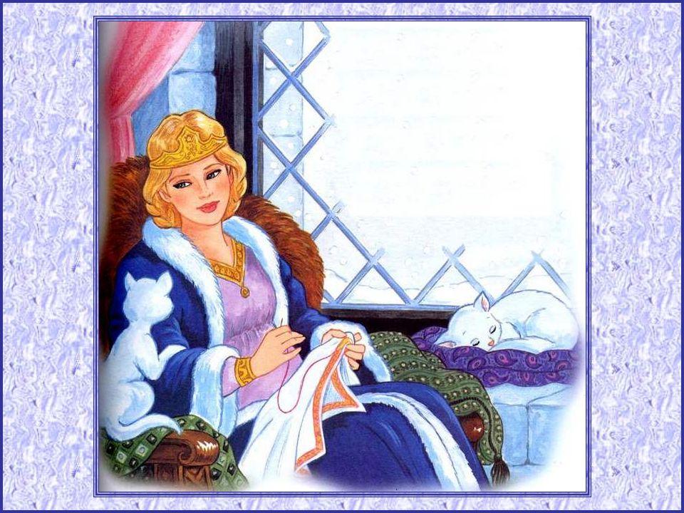 La reine brodait près de la fenêtre, admirant la campagne sous la nei- ge, quand tout à coup elle se piqua au doigt. Une goutte perla, tacha le tissu
