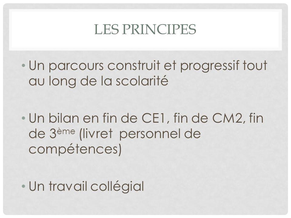 LES PRINCIPES Un parcours construit et progressif tout au long de la scolarité Un bilan en fin de CE1, fin de CM2, fin de 3 ème (livret personnel de compétences) Un travail collégial