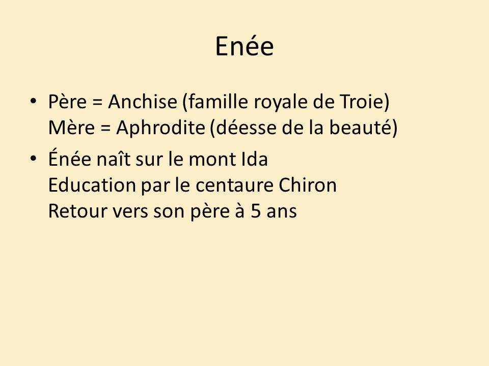 Enée Père = Anchise (famille royale de Troie) Mère = Aphrodite (déesse de la beauté) Énée naît sur le mont Ida Education par le centaure Chiron Retour